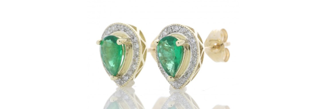 9ct Yellow Gold Diamond And Emerald Earring