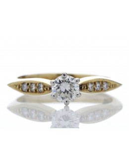 18ct Single Stone Claw Set With Stone Set Shoulders Diamond Ring 0.42 Carats