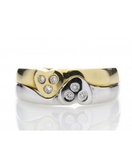 18ct Double Heart Diamond Ring 0.09 Carats