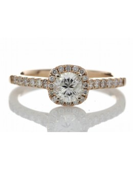18ct Rose Gold Single Stone With Halo Setting Ring (0.50) 0.74 Carats