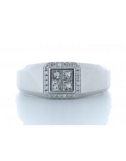 18ct White Gold Single Stone with halo Illusion Set Diamond Ring 0.50 Carats