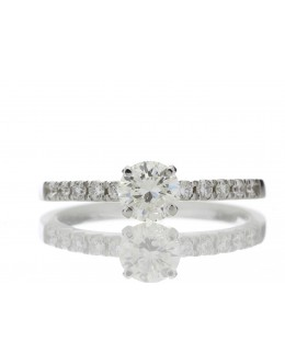 18ct Single Stone Claw Set With Stone Set Shoulders Diamond Ring (0.52) 0.69 Carats