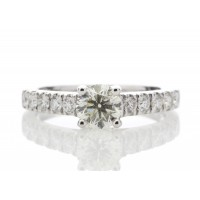 18ct White Gold Single Stone Claw Set With Stone Set Shoulders Diamond Ring 0.61 Carats