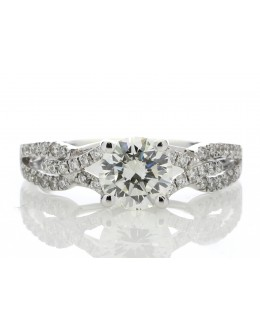 18ct White Gold Single Stone Claw Set With Stone Set Shoulders Diamond Ring (1.03) 1.32 Carats