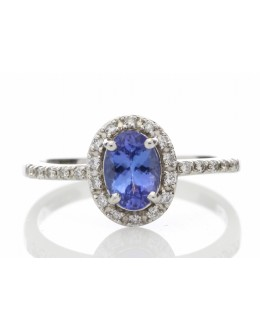 18ct White Gold Diamond And Tanzanite Halo Setting Ring 0.15 Carats