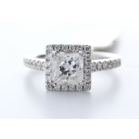 18ct White Gold Single Stone With Halo Setting Ring (1.35) 1.69 Carats