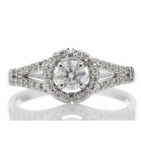 18ct White Gold Single Stone With Halo Setting Ring 0.54 Carats