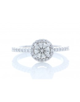 18ct White Gold Single Stone With Halo Setting Ring (0.60) 0.90 Carats