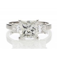 18ct White Gold Three Stone Princess Cut Diamond Ring 2.00 Carats