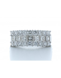 18ct White Gold Claw Set Semi Eternity Diamond Ring 2.43 Carats