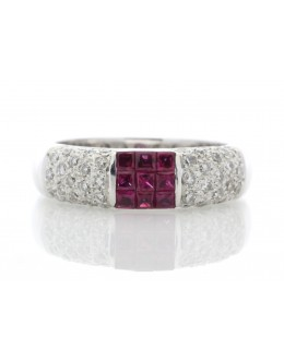 18ct White Gold Grain Set Semi Eternity Diamond And Ruby Ring (R 0.53) 0.49 Carats