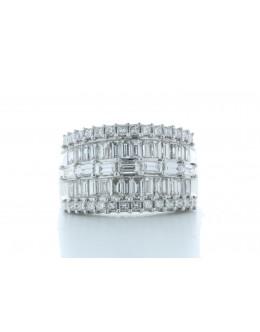 18ct White Gold Illusion Set Semi Eternity Diamond Ring 2.35 Carats