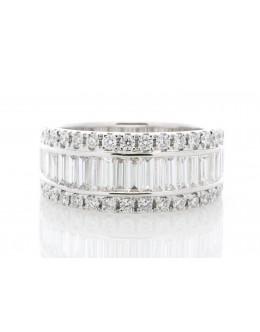 18ct White Gold Channel Set Semi Eternity Diamond Ring 2.12 Carats