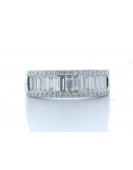 18ct White Gold Channel Set Semi Eternity Diamond Ring 1.07 Carats