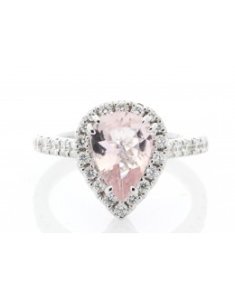 18ct White Gold Pear Shape Pink Morganite Halo Set Diamond Ring 0.56 Carats