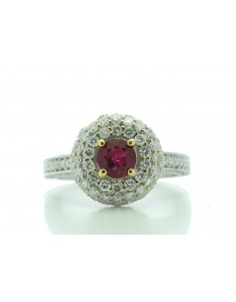 18ct White Gold Cluster Diamond And Ruby Ring (R0.73) 1.90 Carats