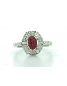 18ct White Gold Cluster Diamond And Ruby Ring (R0.86) 0.80 Carats