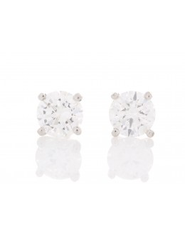 18ct White Gold Single Stone Diamond Earring 0.50 Carats