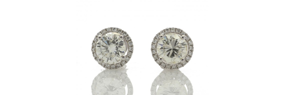 18ct White Gold Single Stone Halo Set Earrings