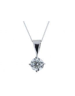 18ct White Gold Single Stone Wire Set Diamond Pendant 0.70 Carats