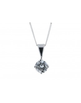 18ct White Gold Single Stone Wire Set Diamond Pendant 0.80 Carats
