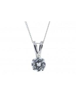 18ct Single Stone Claw Set Diamond Pendant 0.50 Carats
