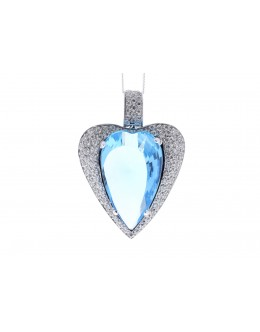 18ct White Gold Single Stone Heart Cut Diamond And Blue Topaz Pendant 1.10 Carats