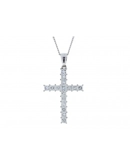 18ct White Gold Diamond Cross Pendant 1.60 Carats