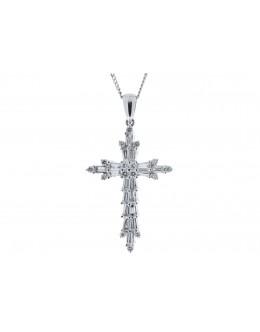 18ct White Gold Diamond Cross Pendant (0.70) 0.94 Carats