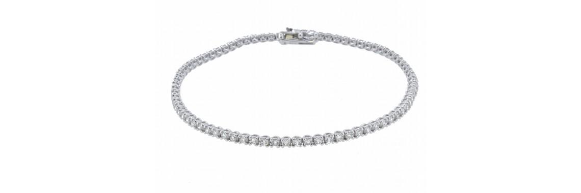18ct White Gold Tennis Diamond Bracelet