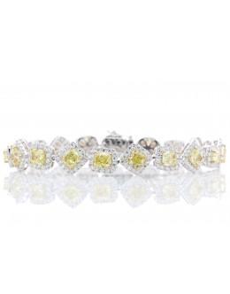 18ct White Gold Fancy Colour Diamond Tennis Bracelet Carats
