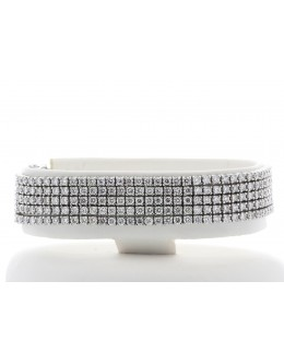 18ct White Gold Five Row Tennis Diamond Bracelet 11.73 Carats
