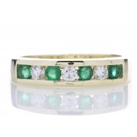9ct Yellow Gold Channel Set Semi Eternity Diamond Ring 0.25 (Emerald) Carats