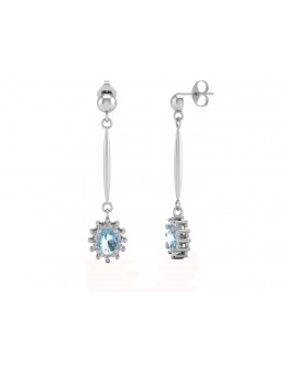 9ct White Gold Diamond And Blue Topaz Earring 0.12 Carats