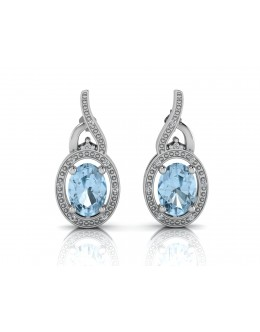 9ct White Gold Diamond And Blue Topaz Earring 0.05 Carats