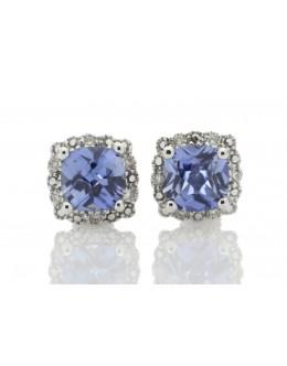 9ct White Gold Created Ceylon Sapphire Diamond Earring 0.08 Carats