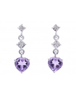 9ct White Gold Amethyst Heart Shape Diamond Earring 0.02 Carats