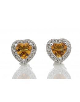 9ct White Gold Citrine Heart Diamond Earring 0.18 Carats