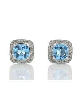 9ct White Gold Blue Topaz Diamond Earring 0.20 Carats