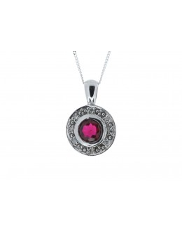 9ct White Gold Created Ruby Diamond Pendant 0.08 Carats