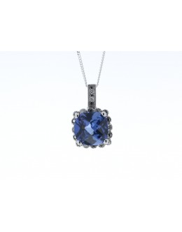 9ct White Gold Created Ceylon Sapphire Diamond Pendant 0.05 Carats