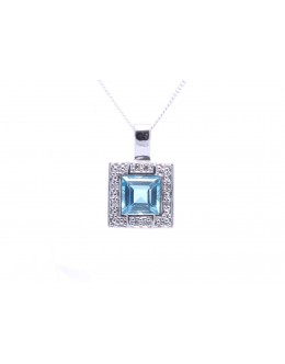 9ct White Gold Blue Topaz Diamond Cluster Pendant 0.04 Carats