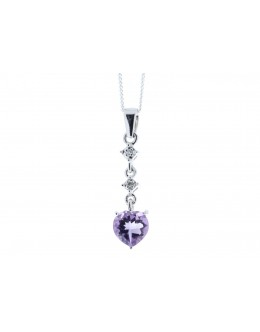 9ct White Gold Amethyst Heart Shape Diamond Pendant 0.01 Carats