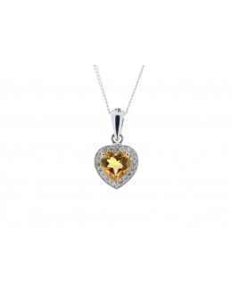 9ct White Gold Citrine Heart Shape Diamond Pendant 0.10 Carats