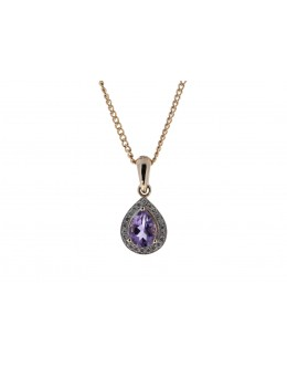 9ct Rose Gold Amethyst And Diamond Pendant 0.11 Carats
