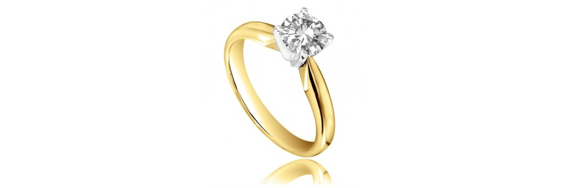 0.30 Carats D VS in 18ct Yellow Gold Ring
