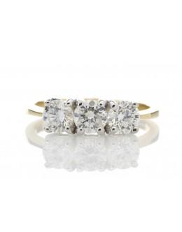 18ct Yellow Gold Three Stone Claw Set Diamond Ring G SI 1.00 Carats