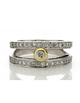 18ct White Gold Double Band Half Eternity Diamond Ring 0.74 Carats