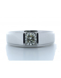 18ct White Gold Single Stone Fancy Rub Over Set Diamond Ring 1.01 Carats
