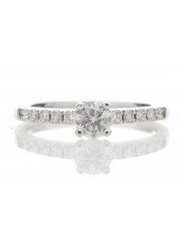 18ct Single Stone Claw Set With Stone Set Shoulders Diamond Ring 0.56 Carats